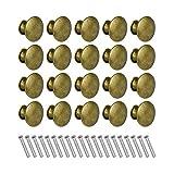 CYH 20 Pezzi Pomelli per Mobili, Pomelli Bronzo Vintage Pomelli Porta, 30mm maniglie per Mobili Rotondi, per Armadietto, Manopole per Mobili da Cucina, Shabby Pomelli per Cassetti, Armadio Cassetto