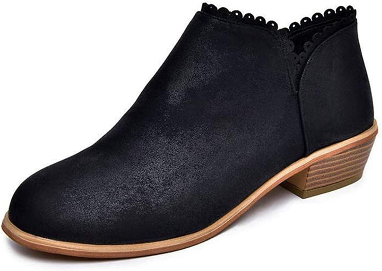 Zarbrina Womens Low Square Heel Ankle Boots Ladies Fashion Round Toe Casual Soft Rubber Sole Slip On Synthetic Winter Warm Party Dress shoes