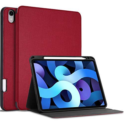 ProCase Funda Antideslizante para Nuevo iPad Air 4 10.9' 2020,Tapa Inteligente Carcasa Interna Flexible iPad Air 4.ª Generación 10.9 Pulgadas Versión 2020 –Rojo