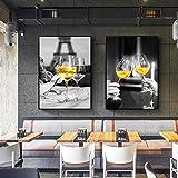 Toile Peinture Murale Impression D'art En Verre De Champagne Affiche pour Salon Décor À La Maison Esthétique Bouteille De Vin Image Décoration 60x80cmx2pcs Sans Cadre