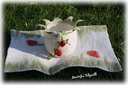Filz-Set Erdbeere**Windlicht und Deckchen Erdbeermotiv**gefilzt*Filzlicht*Unikat**