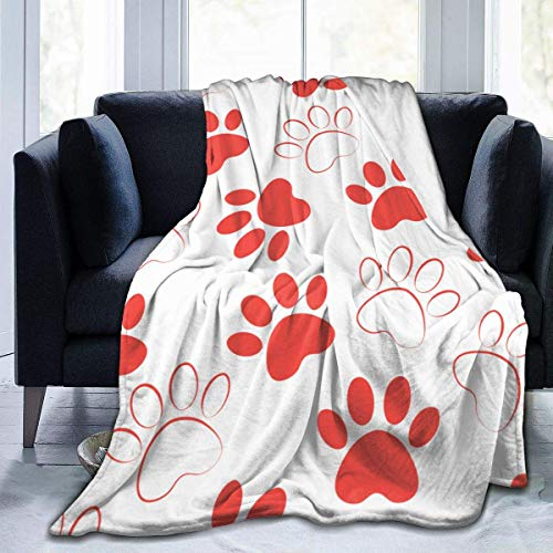 Meloci Hintergrund Silhouetten Katze Hund Footprintcrimson Tiere Fleece Decke Flanell Fleece Weiche Warme Plüsch Decke