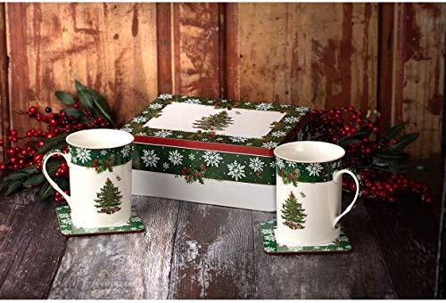 Spode Tasse, Dose und Untersetzer, Motiv Weihnachtsbaum, 5-teilig