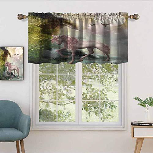 Hiiiman Window Treatments Curtain Tiers Rod Pocket Last Unicorn Golden Leaves Birds Twinkling Stars Moon Mystic, Set of 1, 54'x18' Home Decorative Blackout Panels for Kitchen