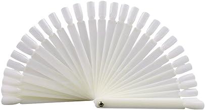 100 piezas de uñas postizas en forma de abanico de color blanco para salón de belleza, herramienta de práctica