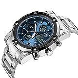 Fashion Watches Bella Orologi, da Uomo Orologio Sportivo Quarzo Giapponese LCD/Cronografo/Resistente all'Acqua/Due fusi orari/Cronometro/NottilucenteAcciaio (Colore : Blu, Taglia : Uomo)