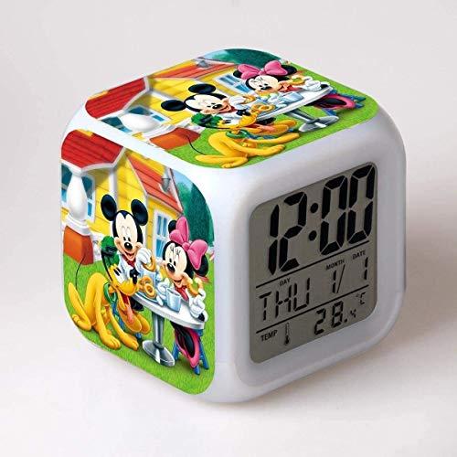 CZWYF Familia Mickey Minnie Colorido LED Alarma Reloj de Alarma Mickey Mouse Alarm Reloj de Alarma 13,08