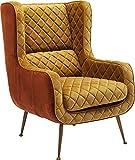 Sillón, asiento de ancho de banda, patas están cubiertas de madera y tapete móvil,Yellow