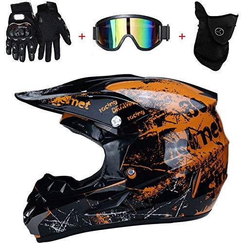 TKUI Motorrad Helm Motocross Helme City Helme BMX Helme Motorrad Crosshelme, Kreative Persönlichkeit Lokomotive Mountainbike Helm, Handschuhe Maske Brille,XL(58~59cm)
