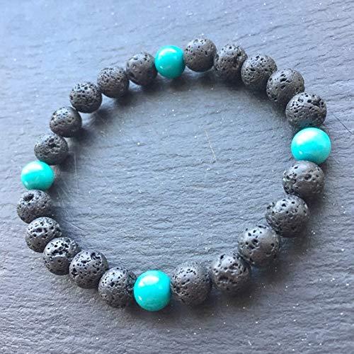 LOVEKUSH Venta al por mayor de 8 mm de roca de lava negra y azul con pulsera de turquesa redonda, lisa de 7 pulgadas para hombres, mujeres, gf, bf y adultos.