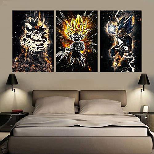 Decoración de diamantes de imitación 3 piezas de pintura de diamantes Dragon Ball Z de dibujos animados 3d punto de cruz Diy diamante bordado cuadrado decoración del hogar