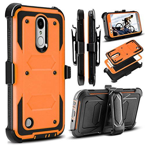 J.west LG Aristo Case, LG Phoenix 3 Case, LG K8 2017 Case, LG Fortune Case, Full-Body Rugged Belt Clip Holster Kickstand Case Without Built-in Screen Protector for LG LV3, Orange