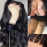 QUINLUX Hair Body Wave Transparent HD 13x6 Deep Lace Front Human Hair Wigs Pre Plucked Brazilian Remy Hair Lace Wig with Baby Hair Bleached Knots for Black Woman 180% Density 18Inch