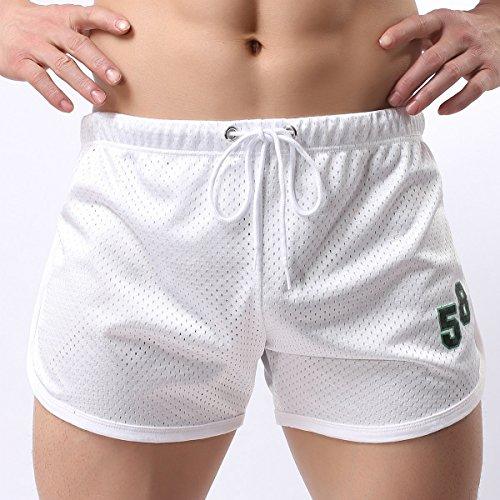 Bluelover Athletic Pantaloncini Da Corsa Per Uomo Double Mesh Traspirante Rapida Qry Fit Bermuda Boxer Corti, White, Large