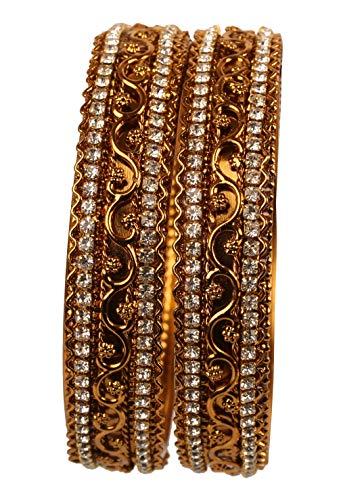 Touchstone Armreifsammlung indisches Bollywood Rhein Zickzack verdrahtete Designerschmuck Dicke Kada Armreifen Armbänder für Damen 2.25 Set 2 Gold