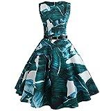 VEMOW Heißer Elegante Damen Mädchen Frauen Vintage Bodycon Sleeveless Beiläufige Abendgesellschaft Tanz Prom Swing Plissee Retro Kleider(Grün, 42 DE/XXL CN)
