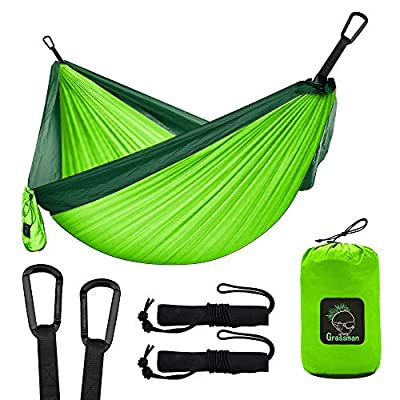 Camping Hammock Double & Single Portable Hammock with Tree Straps, Lightweight Parachute Hammocks Camping Accessories Gear for Indoor Outdoor Backpacking, Travel, Hiking, Beach