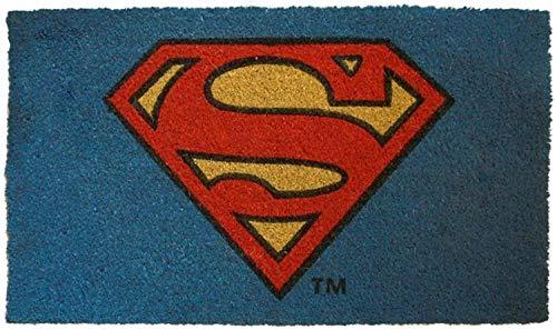 Pyramid America DC Comics Superman - Felpudo con logotipo de fibra de coco - 29 x 17 pulgadas para interiores y exteriores con parte trasera de PVC antideslizante - duradero y fácil de limpiar