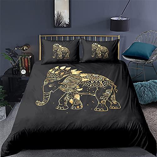 XSXS Juego De Funda De Edredón Reversible con Diseño De Mandala, Diseño De Elefante, Fácil De Cuidar, Antialérgico, Suave Y Liso, con Fundas De Almohada (Elefante 3,180X220cm-Cama 105)