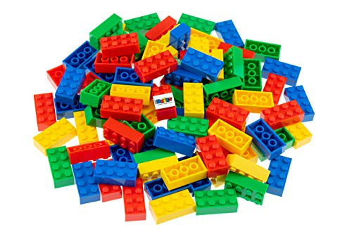 Strictly Briks - Classic Bricks - Set de Ladrillos para Construir de 2 x 4 - 100% Compatible con Todas Las Grandes Marcas de Ladrillos - Azul, Verde, Rojo y Amarillo - 96 Piezas