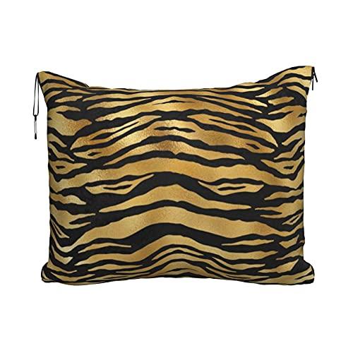 Manta y almohada de viaje, juego de manta de viaje y almohada, manta de viaje para avión compacto y suave, 2 en 1, con rayas de tigre doradas