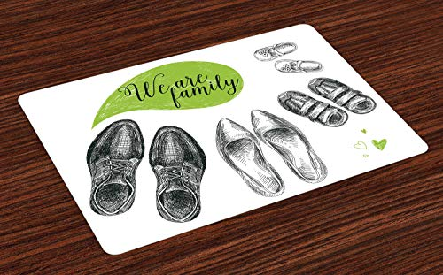 Abakuhaus Familia Salvamantel Set De 4 Unidades, Nos Son Palabras Familiares Zapatos, Material...