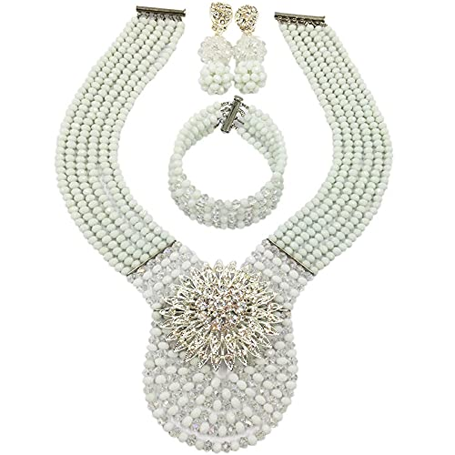 XAOQW Army Green e Champagne Gold Bead Set Crystal Jewelry Set-White Clear AB
