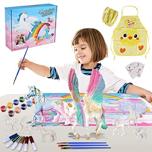 Funmo 42 PCS Pintar Unicornio Juguete Manualidades, Niños Pintar Juego, Juegos de Manualidades, para Creativo Juguete Cumpleaños Navidad Unicornio Regalo para Niña 4 5 6 7 8 9 años
