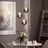 CBJKTX lámpara colgante mesa de comedor lámpara colgante lámpara ajustable en altura lámpara colgante 3 llamas de vidrio en color gris cocina lámpara de sala lámpara de dormitorio lámpara de pasillo