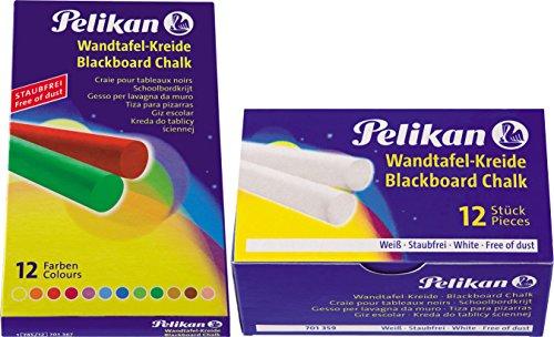 Pelikan Wandtafel-Kreide, staubfrei, rund (1 × bunt + 1 × weiß)