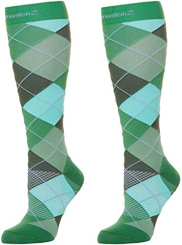 Kompressionsstrümpfe für Damen und Herren, 30-40 mmHg abgestufte Kompression, Medizinische Qualität für Krampfadern, Ödeme, schwere Schwellungen in Füßen und Beinen, Herren, Argyle Green, Large