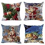 TWIFER 4 STÜCK Weihnachten Baumwolle Leinen Sofa Car Home Taille Kissenbezug Dekokissen Fall (C,...