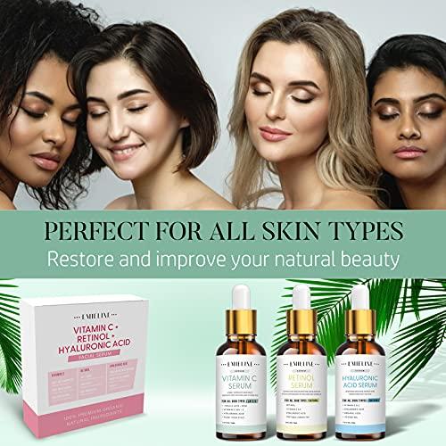 510NwH507hL. SL500  - Emieline Anti Aging Serum, Vitamin C Serum, Retinol Serum, Hyaluronic Acid Serum, Face Serum Set Natural Organic with Apply to Brightening, Anti Wrinkle, Dark Spot Corrector for Face, Moisturizing
