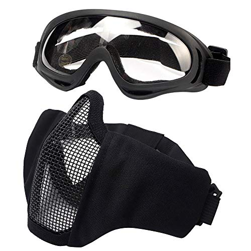 Tactical Airsoft Half Face Mask Foldable Comfortable Lower Face Tactical Wire Steel Metal Net Mesh Protective Mask and Goggles Set for with Outdoor Airsoft BK BB Gun Hunting CS Paintball