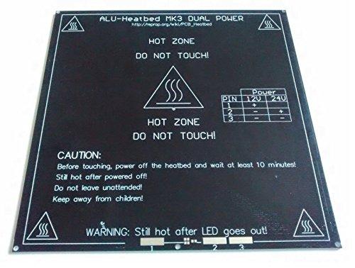 MK3 3D Printer Heated Bed - 3mm Aluminium PCB Heatbed - 12v & 24v Heat bed Alu (Alu-Heatbed + 3m Cable)