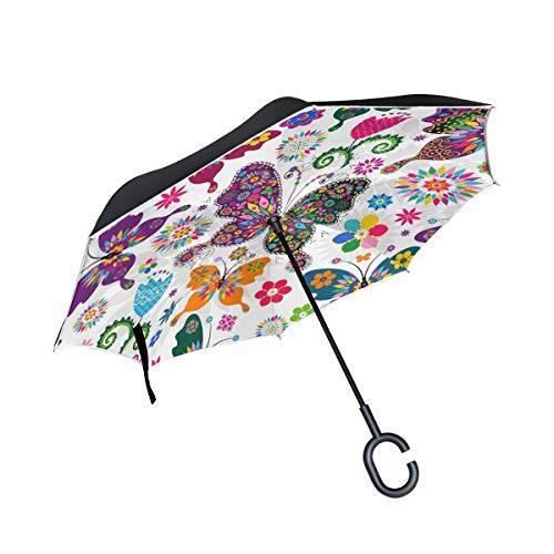 Paraguas de Patio con Mango en Forma de C Mariposa Colorida Flor Floral Paraguas inverso Montaje a Prueba de Viento Paraguas Exterior para Coche