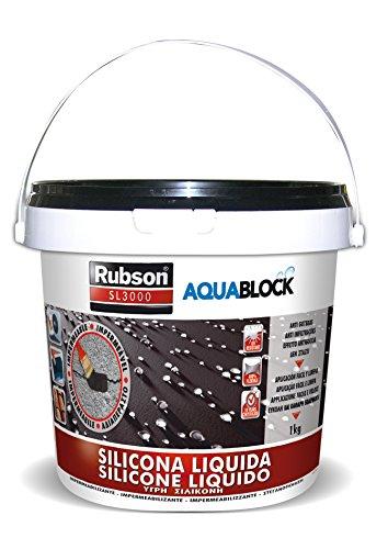 Rubson Aquablock SL3000 Silicona Líquida negra, impermeabilizante líquido para prevenir y reparar goteras y humedades, silicona elástica con tecnología Silicotec, 1 x 1 kg