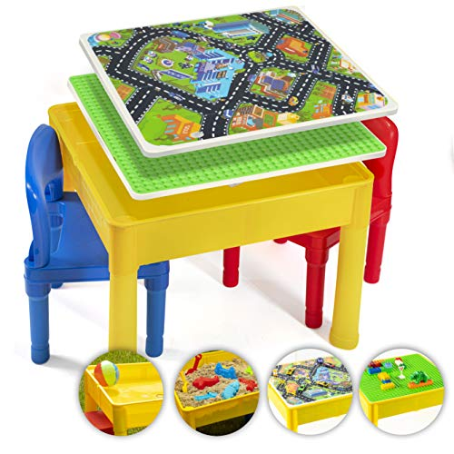 Prextex Kids 5 in 1 Store and Play Craft, Bricks, Water &...