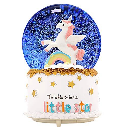 sdtdia Personalisierte Einhorn Schneekugel Glas Spieluhren Musik Glas Ball Mood Light (Weiß)