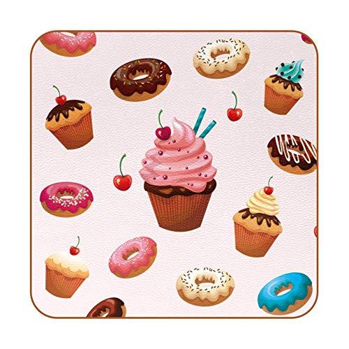 6 posavasos de bebidas personalizadas anticalor/deslizantes para café, té, cerveza, copa de vino para el hogar y bar, deliciosos postres donuts Cake