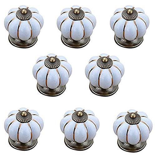 8 stuks keramische handgreep zeven kleuren pompoen cartoon landelijk eigentijdse en contractueel gesloten kast lade handvat wit