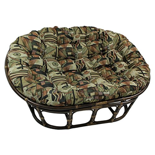 Blazing Needles Patterned Tapestry Double Papasan Chair Cushion, 48' x 6' x 65', Japanese Gardens