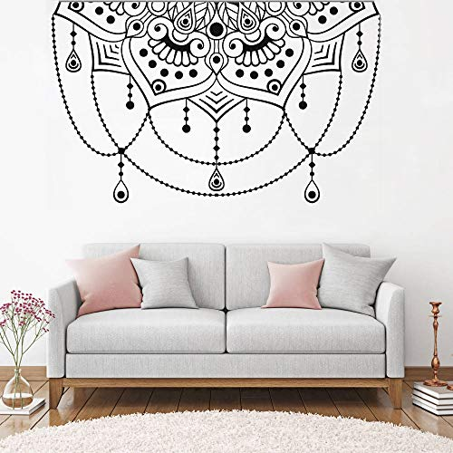 LSMYM Art Headboard Decor Wall Sticker Mandala Tatuajes de pared Half Yoga Studio Decoración Boho Decals Dormitorio Sticker Forest Green M 91cm X 56cm