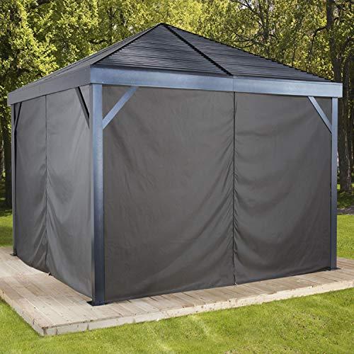 Sojag Aluminium Pavillon South Beach 12x12 Vorhänge Seitenteile Schwarz/passend für alle South Beach Modelle