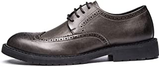 PengCheng Pang Brogue Oxford for Men Formal Dress Shoes Lace up Microfiber Leather Rubber Sole Round Toe Burnished Style Anti-Slip Perforated (Color : Khaki, Size : 5.5 UK)