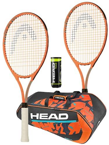 HEAD Radical - Raqueta de tenis, juego doble, incluye bolsa de tenis HEAD Radical y 3 pelotas de tenis HEAD Team