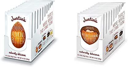 Justin's Cinnamon Almond Butter Squeeze Packs, Gluten-free, Non-GMO, Responsibly Sourced, 1.15 Oz, Pack of 10 & Justin's C...