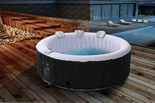 Arebos Whirlpool | aufblasbar | In- & Outdoor | 6 Personen | 130 Massagedüsen | mit Heizung | 1.000 Liter | Inkl. Abdeckung | Bubble Spa & Wellness Massage