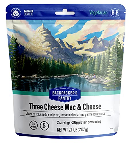 Backpacker's Pantry Three Cheese Mac & Cheese | Freeze Dried Backpacking & Camping Food | Emergency Food | 40 Grams of Protein, Vegetarian | 1 Count