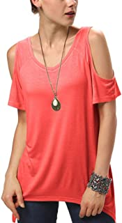 Urban CoCo Women's Vogue Shoulder Off Wide Hem Design Top Shirt